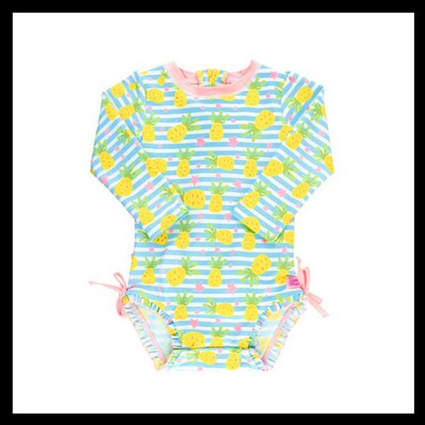 e090ad3a37b60 CUTE Little Girl Swimwear - UV Protection - Bold Pearls